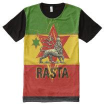 Rasta t-shirt all over print lion of judah design