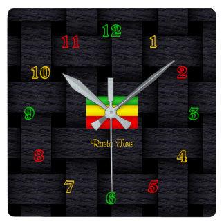 'Rasta Time' Square Wall Clock