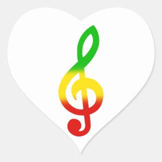 Rasta Treble Clef Heart Sticker