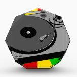 "Rasta Turntable Acrylic Award<br><div class=""desc"">DJ turntable with rasta colors.</div>"