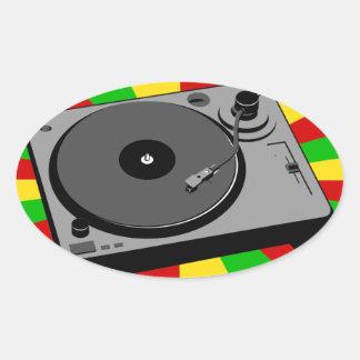 Rasta Turntable Oval Sticker