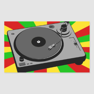 Rasta Turntable Rectangular Sticker