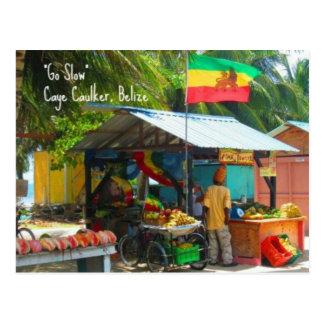 Rasta Veggie Stand n Caye Caulker Belize Postcard