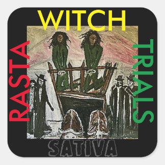 RASTA WITCH TRIALS SATIVA SQUARE STICKER