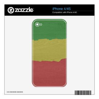 Rasta Wood Grain Skins For iPhone 4