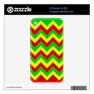 Rasta Zig Zags Skins For iPhone 4