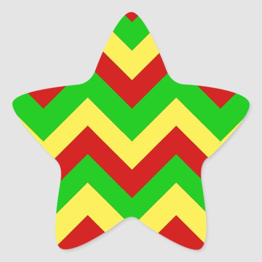 Rasta Zig Zags Star Sticker