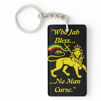 Rastafa Keychain: Lion of Judah, in Gold and Black Keychain