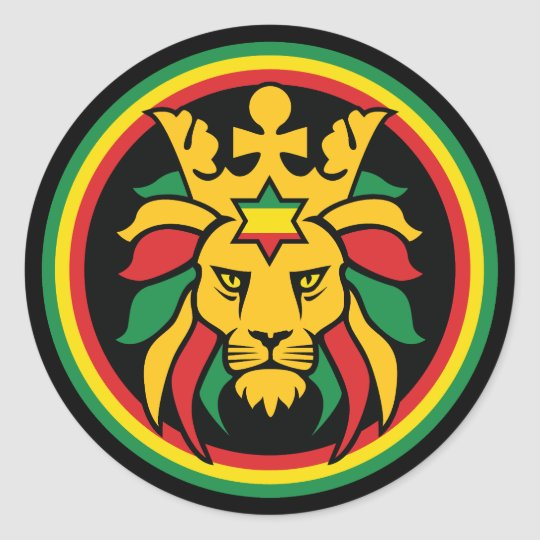 Rastafari dreadlocks lion of judah classic round sticker