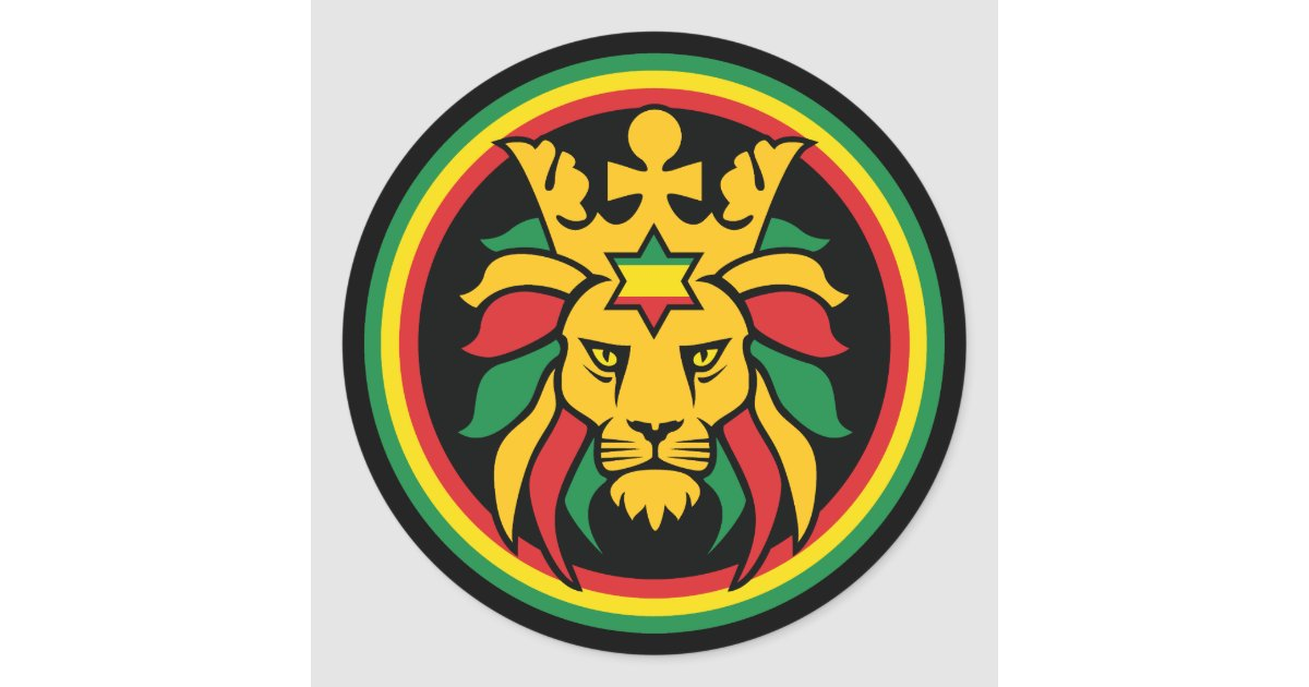 Rastafari Dreadlocks Lion of Judah Classic Round Sticker ...