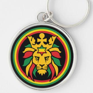 Rastafari Dreadlocks Lion of Judah Silver-Colored Round Keychain