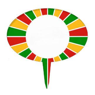 RASTAFARI FLAG BUTTON RAYS + your sign or monogram Cake Toppers