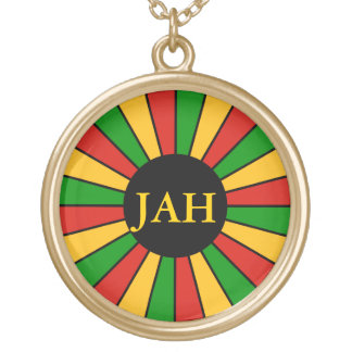 RASTAFARI FLAG BUTTON RAYS + your sign or monogram Gold Plated Necklace