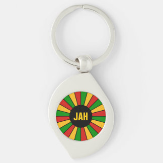 RASTAFARI FLAG BUTTON RAYS + your sign or monogram Keychain