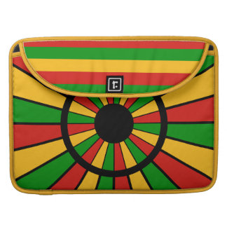 RASTAFARI FLAG BUTTON RAYS + your sign or monogram MacBook Pro Sleeve