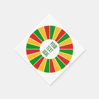 RASTAFARI FLAG BUTTON RAYS + your sign or monogram Napkin