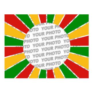 RASTAFARI FLAG BUTTON RAYS + your sign or photo Postcard