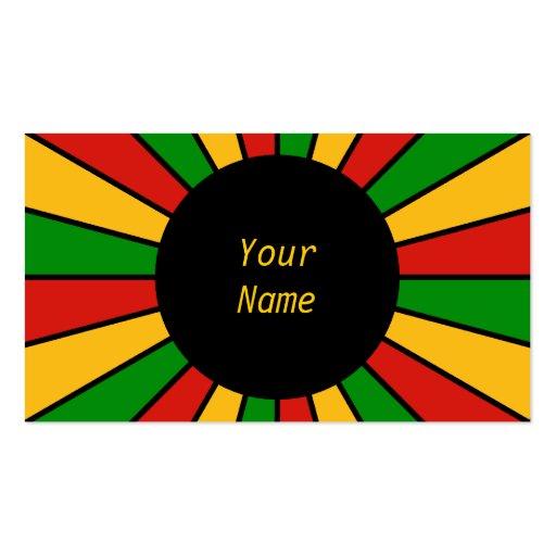 RASTAFARI FLAG BUTTON RAYS + your sign or text Business Cards