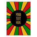 RASTAFARI FLAG BUTTON RAYS + your sign or text Greeting Card
