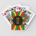 RASTAFARI FLAG BUTTON RAYS + your sign or text Deck Of Cards