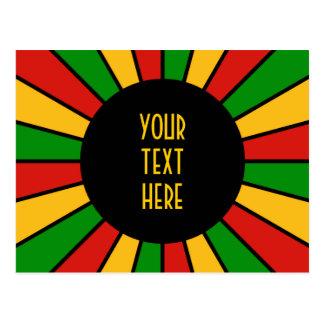 RASTAFARI FLAG BUTTON RAYS + your sign or text Postcard
