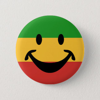 RASTAFARI FLAG COLORS & smiley + your ideas Button