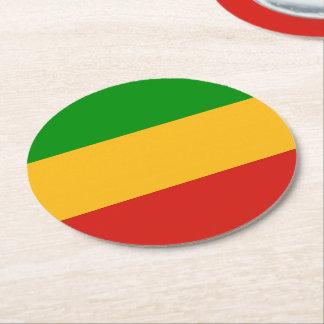 RASTAFARI FLAG COLORS + your ideas Round Paper Coaster