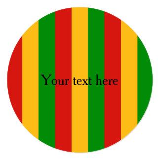 RASTAFARI FLAG COLORS + your text 5.25x5.25 Square Paper Invitation Card