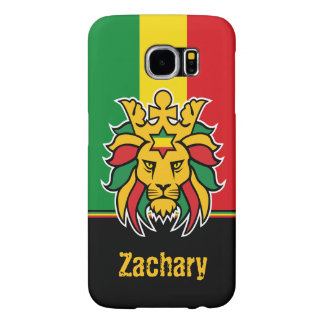 Rastafari Lion of Judah Personalized Name Samsung Galaxy S6 Cases