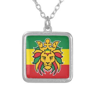 Rastafari Lion of Judah Silver Plated Necklace