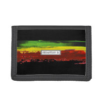 Rastafari Paint Stripe Custom Name Trifold Wallet
