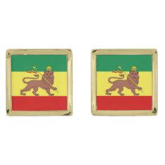 Rastafari Reggae Music Flag Gold Cufflinks at Zazzle