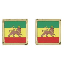 Rastafari Reggae Music Flag Gold Cufflinks