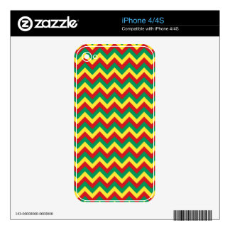 Rastafarian Chevron Skin For iPhone 4S