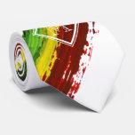 Rastafarian Paint Strokes White Monogram Tie