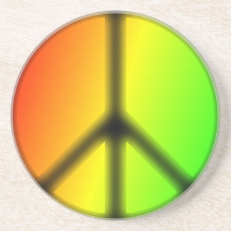Rastafarian Peace Sign Sandstone Coaster