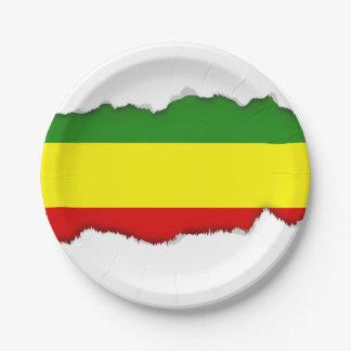 Rastafarian Pride Flag Paper Plate