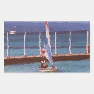 Rastaman en un velero, Montego Bay Jamaica Pegatina Rectangular