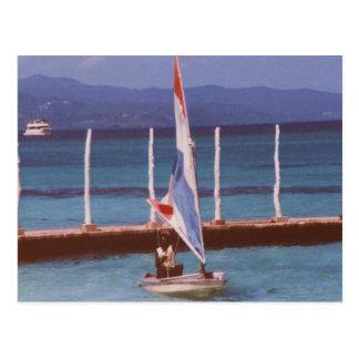 Rastaman in a Sailboat, Montego Bay Jamaica Postcard