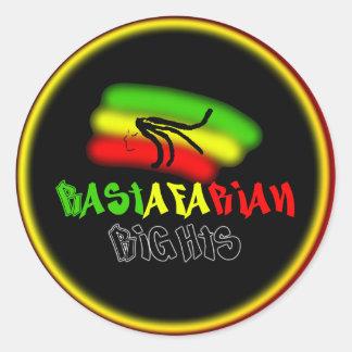 Rastarfarian endereza el logotipo etiquetas redondas