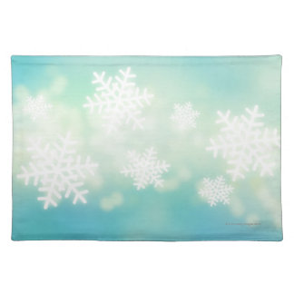 Raster illustration of glowing snowflakes cloth placemat