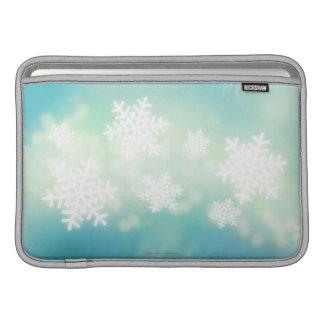 Raster illustration of glowing snowflakes MacBook air sleeve