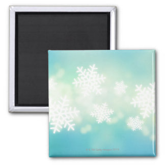 Raster illustration of glowing snowflakes magnet
