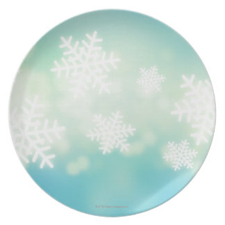 Raster illustration of glowing snowflakes melamine plate