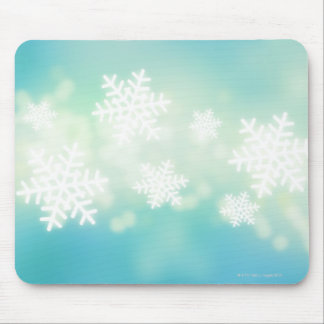Raster illustration of glowing snowflakes mouse pad