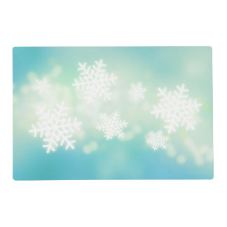 Raster illustration of glowing snowflakes laminated place mat