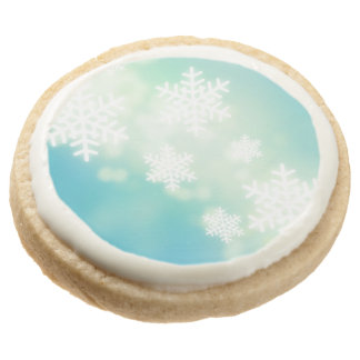 Raster illustration of glowing snowflakes round shortbread cookie