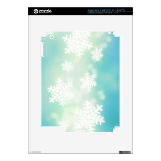 Raster illustration of glowing snowflakes skin for iPad 3