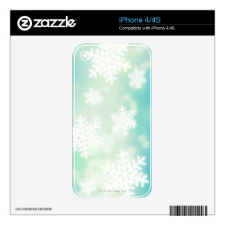 Raster illustration of glowing snowflakes skins for the iPhone 4S