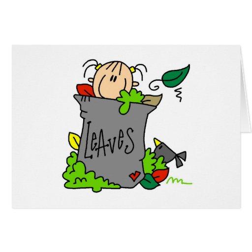 Rastrillemos el regalo de las hojas tarjeta de felicitación